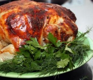 запеченная курица с зеленью