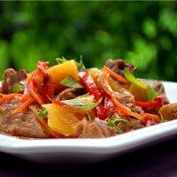 мясо с овощами в мультиварке поларис