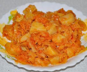 тушеная картошка с капустой и с мясом пошаговый